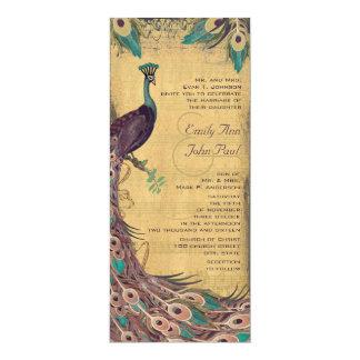 "Eggplant Aqua Vintage Peacock Wedding 4"" X 9.25"" Invitation Card"