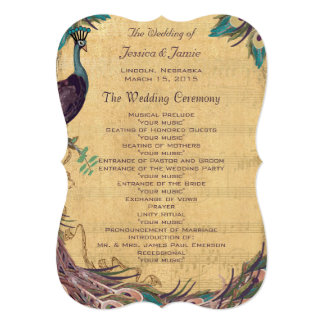 Eggplant Aqua Vintage Peacock Wedding Program 5x7 Paper Invitation Card