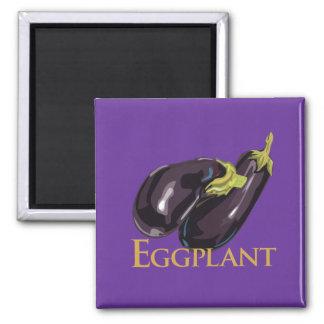 Eggplant Aubergine 2 Inch Square Magnet