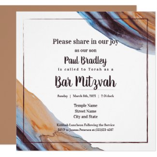 bar mitzvah invitation modern blue