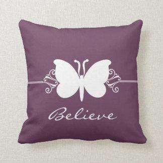 Eggplant Butterfly Swirls Pillow