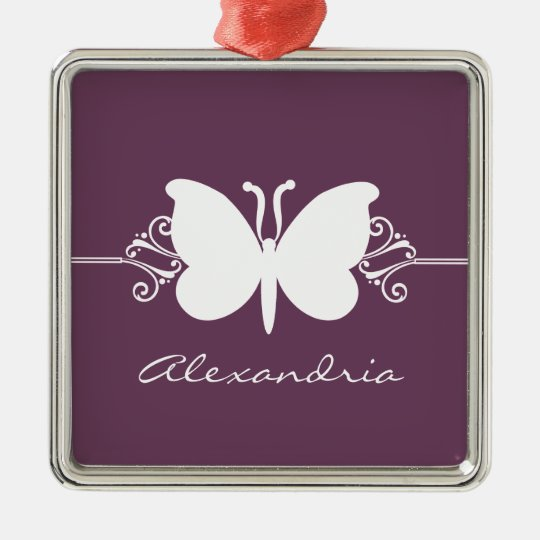 Eggplant Butterfly Swirls Premium Ornament