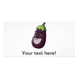 Eggplant cartoon photo card