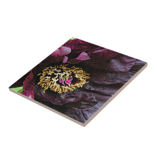 """EGGPLANT-COLORED PEONY"" CERAMIC TILE/TRIVET TILE"