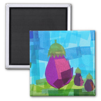 Eggplant Family 2 Inch Square Magnet