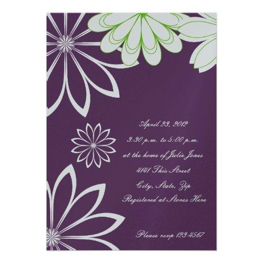 Eggplant Floral Bridal Shower Invitation