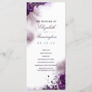 Eggplant Floral Watercolor Wedding Programs
