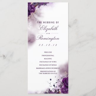 Eggplant Floral Watercolor Wedding Programs
