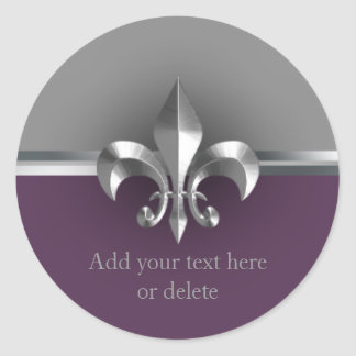 Eggplant Gray Metal Style Silver Fleur de Lis Sticker