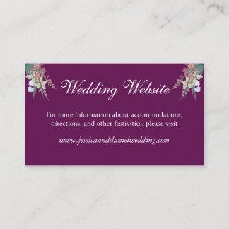Eggplant & Green Floral Wedding Website Card