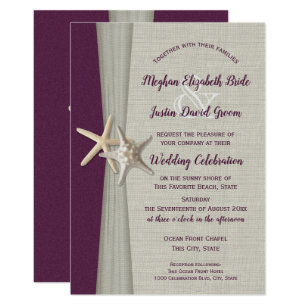 Eggplant Grey Starfish Beach Wedding Invitation