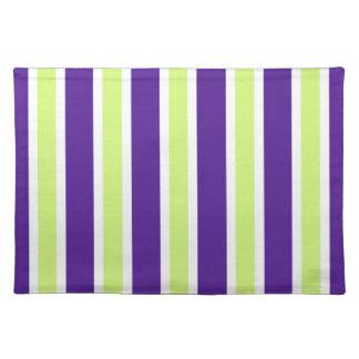 Eggplant & Honeydew Stripes Cloth Placemat