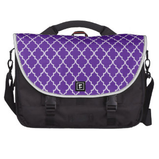 Eggplant Indigo Violet And White Moroccan Pattern. Bag For Laptop