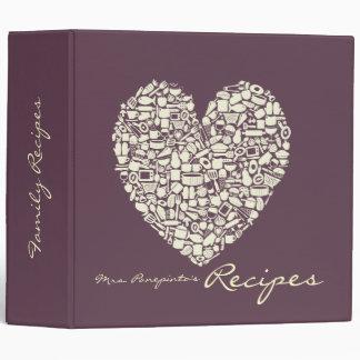 Eggplant Ivory Heart Recipe Binder