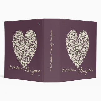 Eggplant & Ivory Heart Recipe Binder