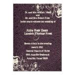 Eggplant Leather and White Lace Wedding Invitation