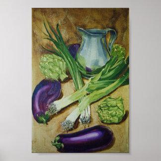 Eggplant, Leek & Artichoke Posters