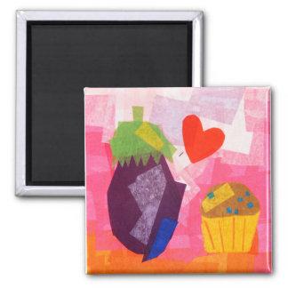 Eggplant Love 2 Inch Square Magnet