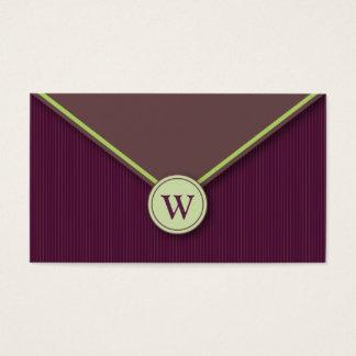 Eggplant Monogram Envelope Business Cards