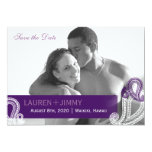 Eggplant Paisley Wedding Photo Save the Date Card