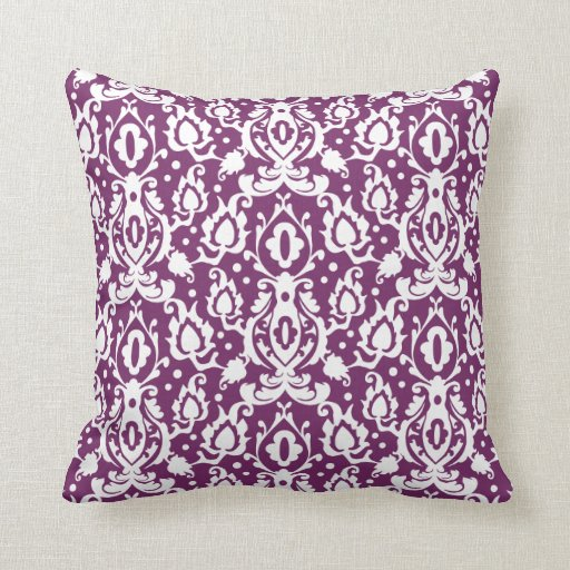 Eggplant Colored Throw Pillows : Eggplant Plum Moroccan Damask Throw Pillow Zazzle
