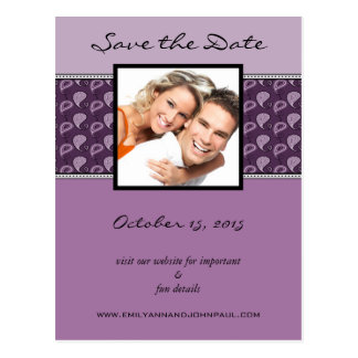 Eggplant Plum Paisley Save The Date Your Photo Postcard