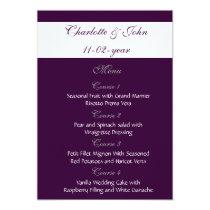 eggplant plum  wedding menu card