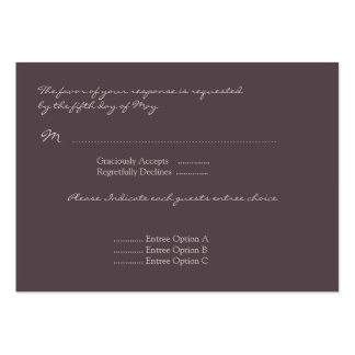 Eggplant Poppy Response Card Large Business Card