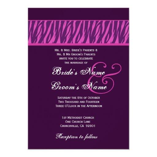 Eggplant Purple and Fuchsia Zebra Wedding Template 5x7 Paper Invitation Card