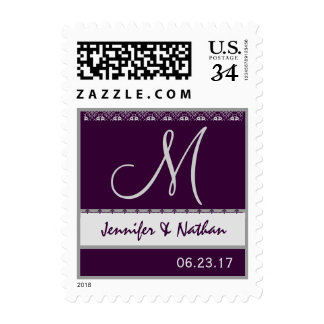 Eggplant Purple and Silver Wedding Names Monogram Postage