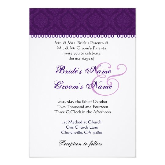Eggplant Purple and White Damask Wedding Card