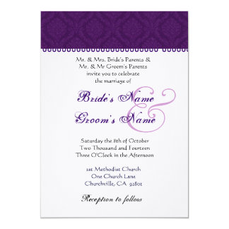 Eggplant Purple and White Damask Wedding 5x7 Paper Invitation Card