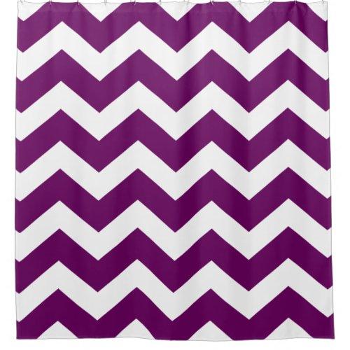 Eggplant Purple and White Large Chevron Pattern Shower Curtain