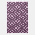 Eggplant Purple and White Moroccan Quatrefoil Kitchen Towels