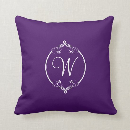 Eggplant Purple and White Ornate Monogram Throw Pillow