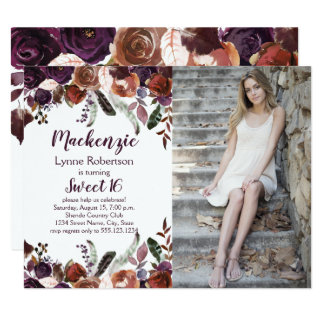 Eggplant Purple Butter Rum Roses Photo Sweet 16 Card