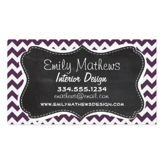 Eggplant Purple Chevron; Retro Chalkboard Business Cards