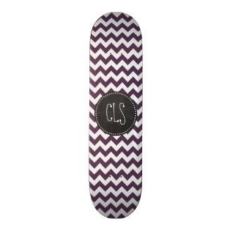 Eggplant Purple Chevron; Retro Chalkboard Skateboard