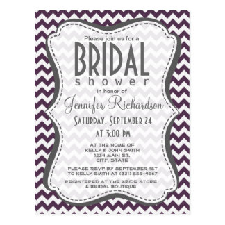 Eggplant Purple Chevron; zig zag Postcard