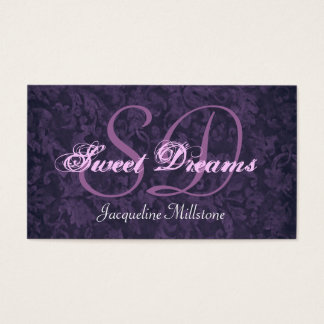 Eggplant Purple Custom Monogram Business Card