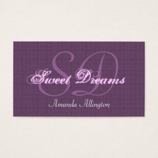 Eggplant Purple Custom Monogram V01 Business Card