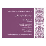 Eggplant Purple Damask Bridal Shower Invitation