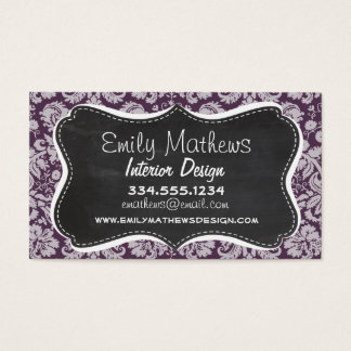 Eggplant Purple Damask; Chalk look Business Card