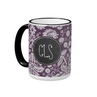 Eggplant Purple Damask; Chalk look Ringer Coffee Mug