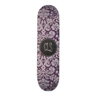 Eggplant Purple Damask; Chalk look Custom Skate Board