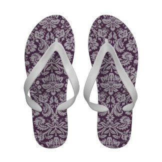 Eggplant Purple Damask Flip-Flops
