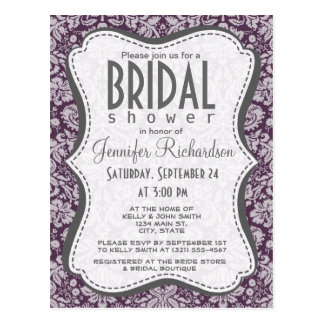 Eggplant Purple Damask Postcard