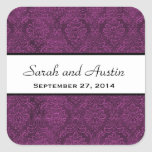 Eggplant Purple Damask Save the Date Wedding V05 Sticker