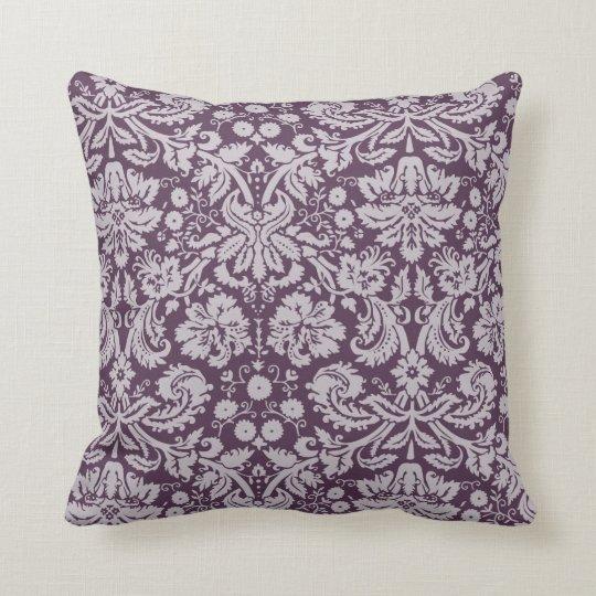 Eggplant Purple Damask Throw Pillow Zazzle Com