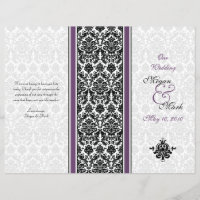 Eggplant Purple Damask Wedding Program